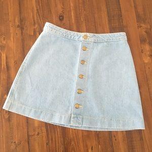 American Apparel Button Front Light Jean Skirt M